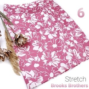 Brooks Brothers Stretch Pink White Floral Skirt 6